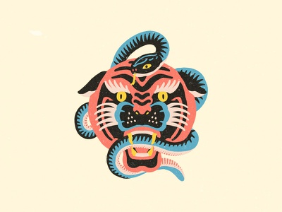 Tiger and Snake snake tiger tattoo flash logo icon design illustration