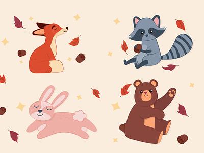 Autumn animals adobe illustrator graphic design vector illustration