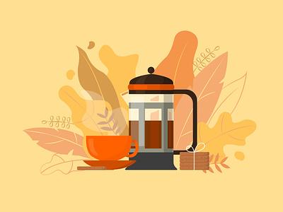 Autumn tea vector illustration adobe illustrator graphic design