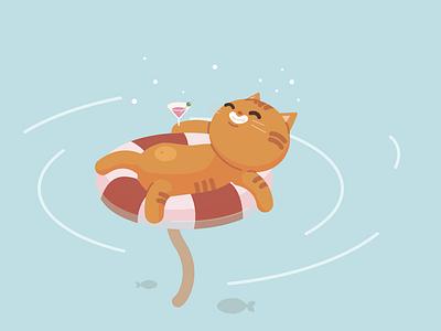 Cat in the pool vector illustration graphic design adobe illustrator