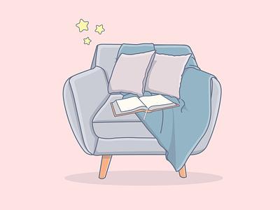 Cartoon illustration of a comfortable armchair design vector illustration adobe illustrator graphic design