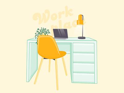 Cartoon illustration of a workplace design vector illustration graphic design adobe illustrator
