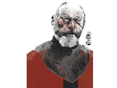 Davos wacom character sketch bw illustration illustrator got gameofthrones