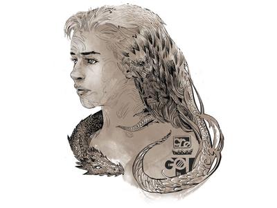 Mother of Dragons emilia clarke mother of dragons dragons portrait character sketch photoshop illustration hbo game of thrones got daenerys targaryen