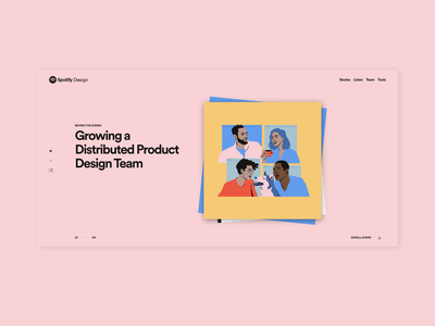 Growing a Distributed Team at Spotify hero vector vectors coffee break remote working connection dog team remote music editorial blog illustration spotify