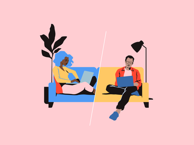 Working Remotely at Spotify hero remote work work remote music app spotify blog vectors editorial vector illustrator design illustration