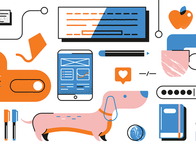 Dogs and code code dev dog ui vector illustration