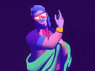 St. John fashion disco renaissance illustration music design ipad procreate painting vintage 80s
