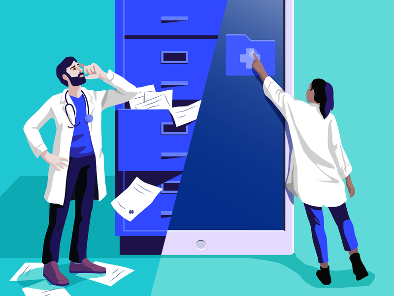 Merging technology and healthcare auth0 data database authentication doctors editorial ui blog illustration healthcare medical roi security identity