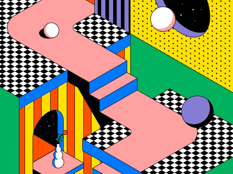 Another dimension aerolab spot illustration flat colors escher magic stairs space ui branding visual design graphic design vectors illustration hero image