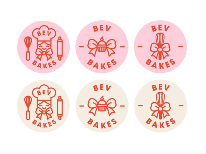 Bev Bakes logo logos logo design logotype pastry cupcake bow ribbon 2d chef whisk cake bake bakery baking cute logo