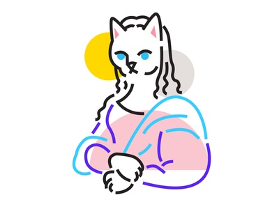 Meowa Lisa cats kitty meow cat minimal lines clean painting lisa mona vector illustration design cute 2d