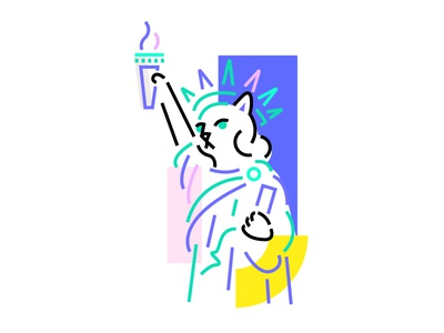 Kitty of Liberty drawing lines minimal statue liberty of meow cats cat vector illustration design cute 2d