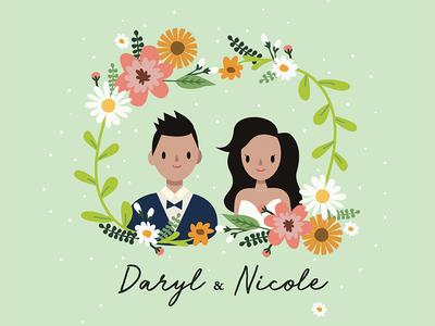 Wedding invite man boy groom bride flower flowers print card character wedding card invitation invite wedding 2d woman illustration design vector girl cute