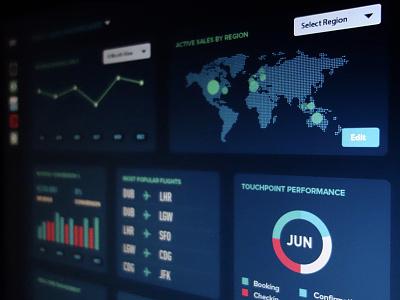Dark Stats Dashboard dashboard ui dark flat charts graphs visualization stats icons render screen