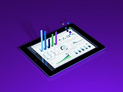 Dashboard 3D Data Hero ipad dashboard ui concept purple graphs bubblechart bar graph stats interface 3d render