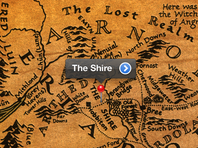 Middle Earth Map ios maps middle earth google maps pin the shire worn paper texture cartography calligraphy design fiction lotr lord of the rings