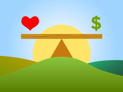 Love and Money illustration love money balance work sun dollar poster heart simple minimal wood see-saw