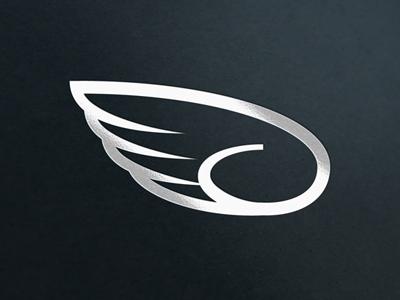Streamglider Identity - Foil Stamp identity logo symbol wing flight app icon foil stamp faux stamp silver black