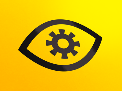 Eye Cog Icon eye cog gear icon iconography yellow black