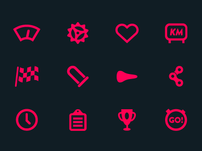 Velo Cycling Icons icons bike cycling pictogram ideogram dark hot-pink gears heart ios apple vector