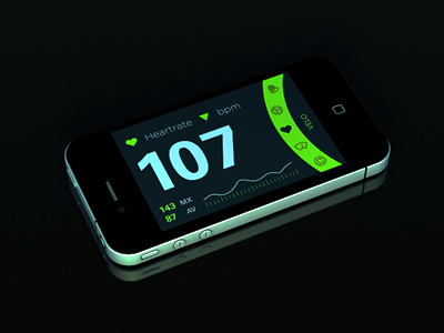 Velo Night Mode ios iphone bike 3d render cycling app dayglo icons green glow data interaction
