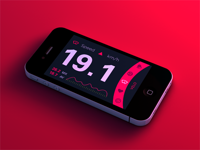 Velo Neon Rosa ios apple icons red pink bike cycling monitor ui neon data interaction design render app dayglo