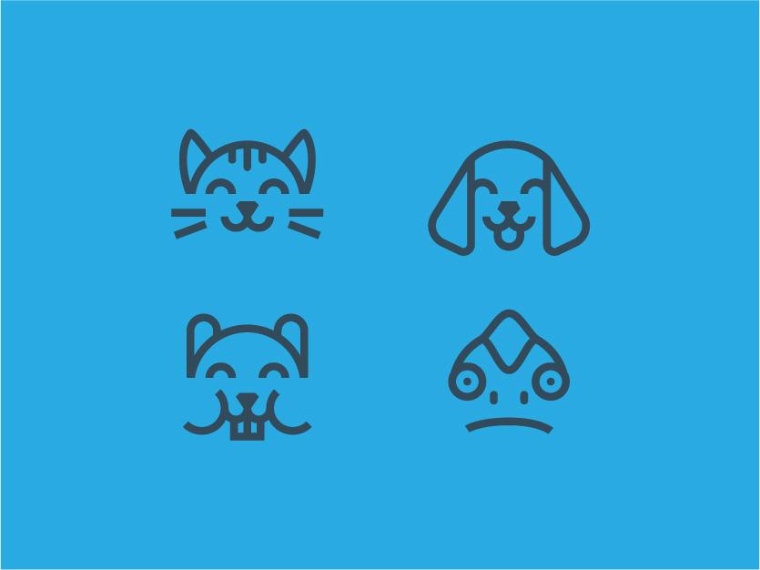 Pets icons chameleon hamster dog art cat icons set icons veterinarian petshop pets