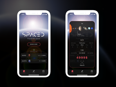 Space Travel App iphonex tickets travel space spacedchallange