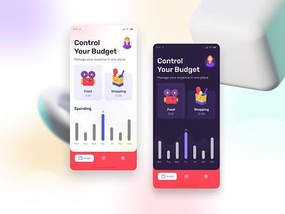 Pocket Money-saving App Design mobile app gradient mobile ui concept modern ui ui ux finance dashboard dark light 3d