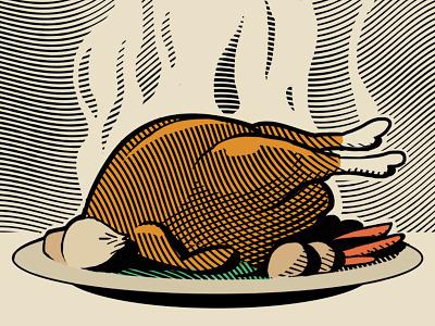 Roast Chicken menu illustration food chicken