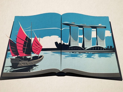 American Express -  Singapore icon landscape travel app travel illustration