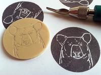 hand-made bear stamp