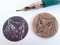 hand-made owl stamp