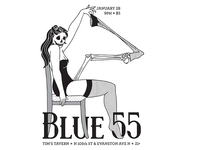 """Blue 55 """"Dead Sexy"""" Gig Poster"""