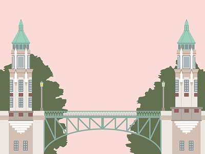 Seattle's Montlake Bridge green pink illustration vector 1920s gothic architecture architecture gothic scenic montlake bridge bridge seattle