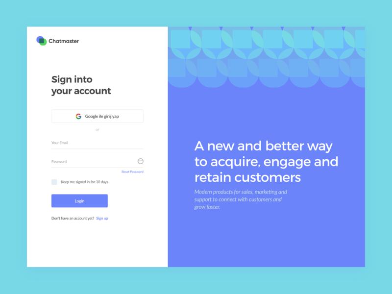 Chatmaster login form login screen login page social login agent chat app web design login