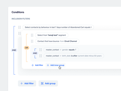 Condition Editor / Rule Builder filter uiux ui and or builder segment rules condition query
