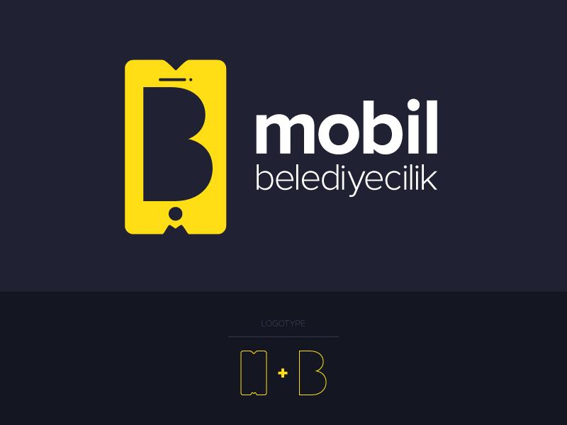 Mobil Belediyecilik mobil app icon yellow navy blue logo logotype symbol