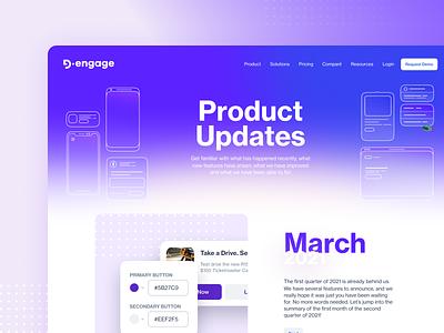 Product Updates homepage marketing automation one page design landing page navbar web design purple ui product updates