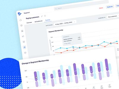 Segment Tracking navigation header navbar admin panel management panel dashboard app overview survey graph analytics blue tracking segment