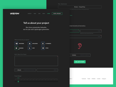 Unicrow — Start a New Project responsive flat slider selectbox ui form interface user website agency unicrow