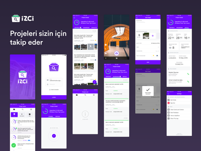 IZCI App —All Scene no items setting tab camera project detail project list onboarding splash app ios