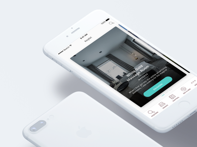 Discover Page Highlights — Hotel iOS App page slider tabbar fresh design mobile app hotel mockup clean flat slider