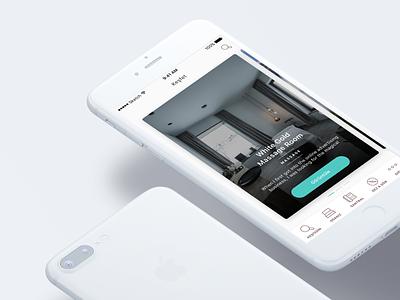 Discover Page Highlights — Hotel iOS App page slider tabbar fresh design mobile app hotel mockup clean flat slider