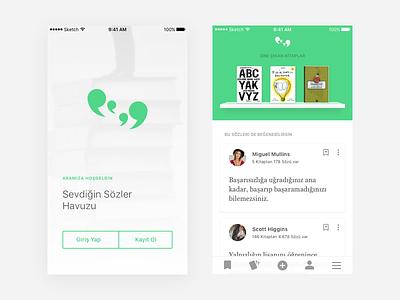 Booksaying — Favorite Sayings Pool mobile app book green tabbar card welcome screen discovery