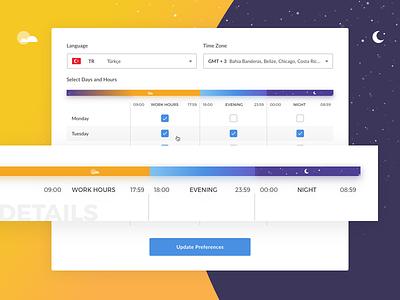 Customer Hour Preferences — Details hour slider work hours selectbox combobox profile preferences customer profile setting preference hour preferences