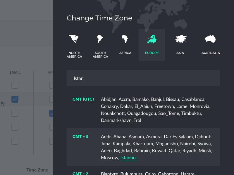Change Time Zone Modal by Halil ibrahim Nuroğlu | Dribbble | Dribbble