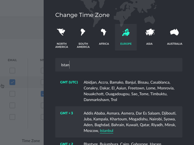 Change Time Zone Modal search list search input auto search web clean utc continents dark overlay modal time zone