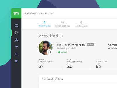 View Profile stats summary breadcrumb menu navbar tab show edit view account profile user